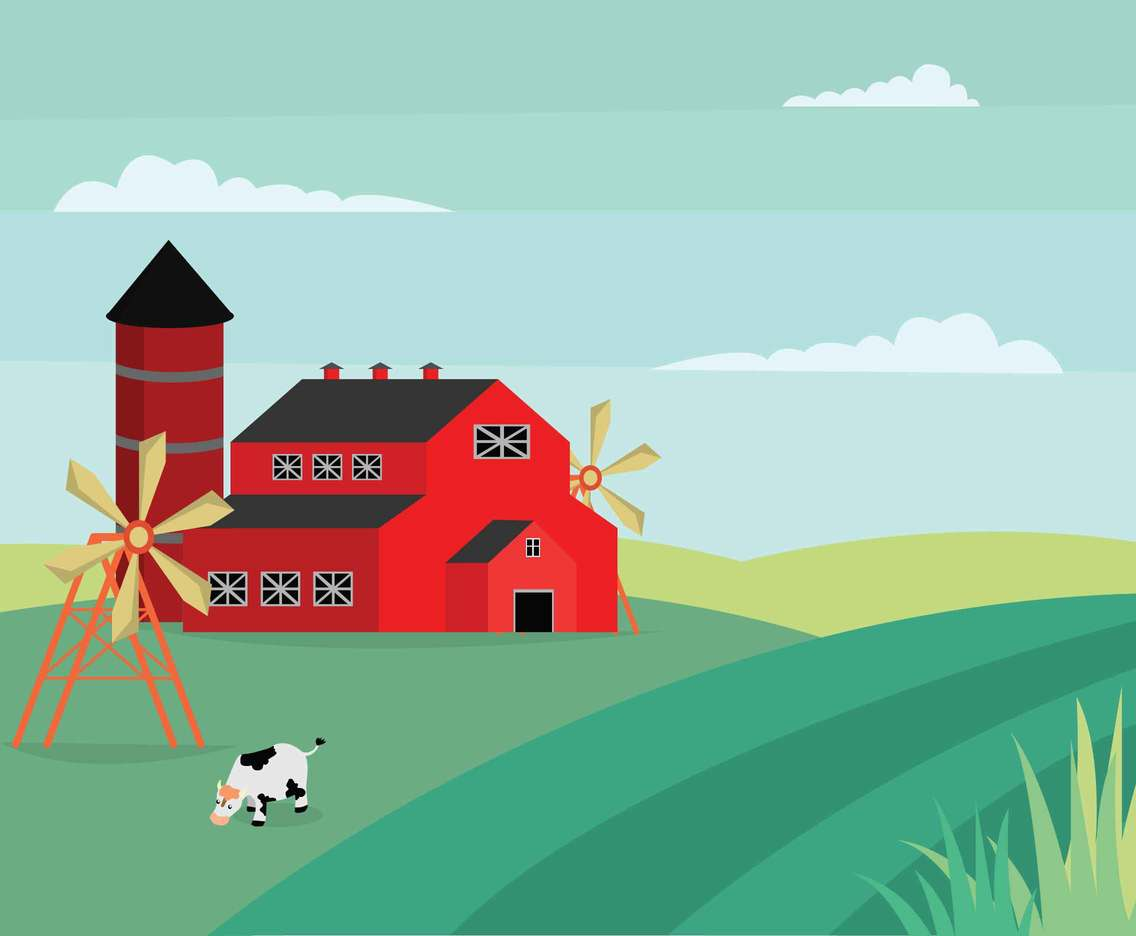 Ranch With Green Landscape illustration