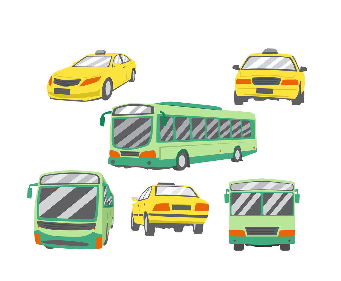Taxi and Bus Vector