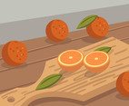 Tangerine on Cutting Board Vector