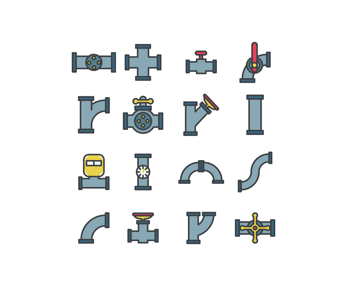 Outlined Set Of Valves And Pipes