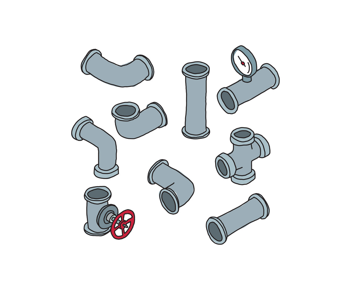 Doodled Valves And Pipes