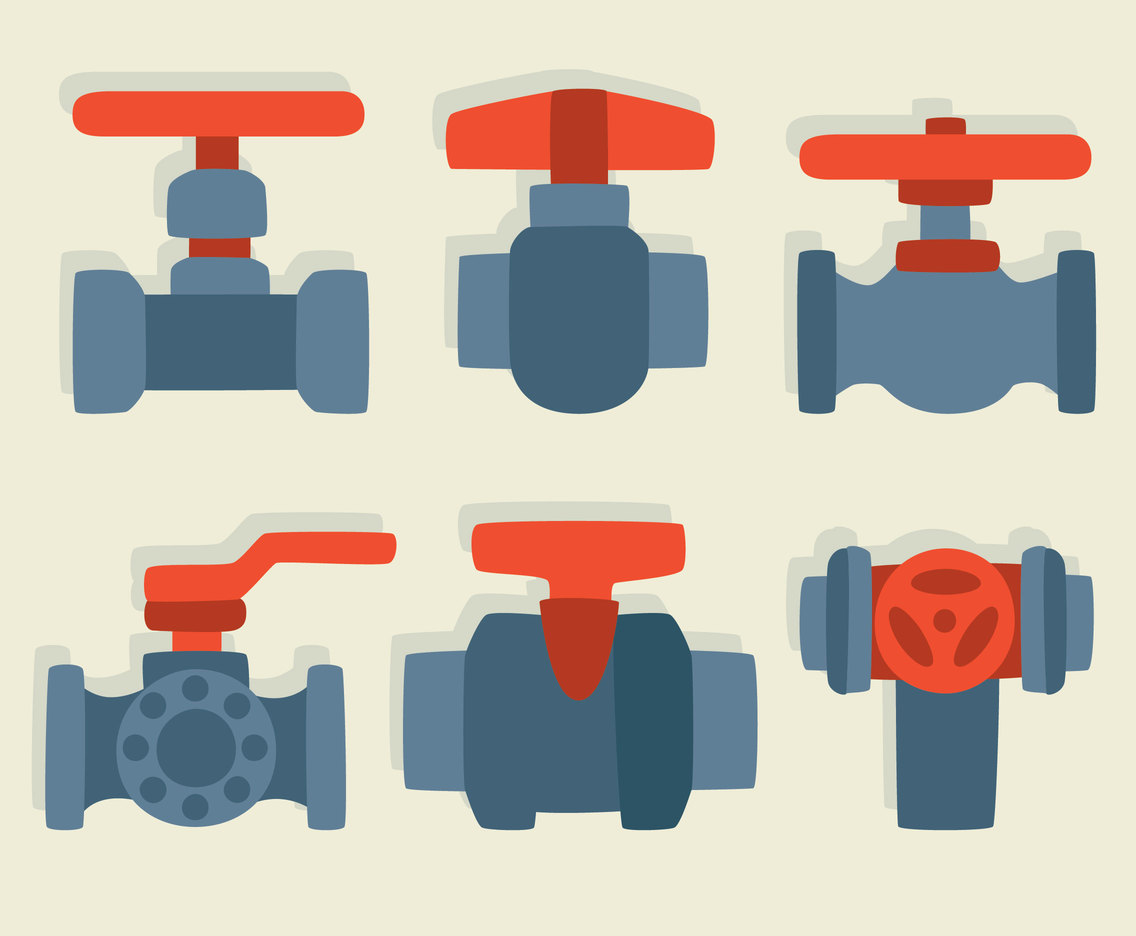 Flat Valve Collection Vector