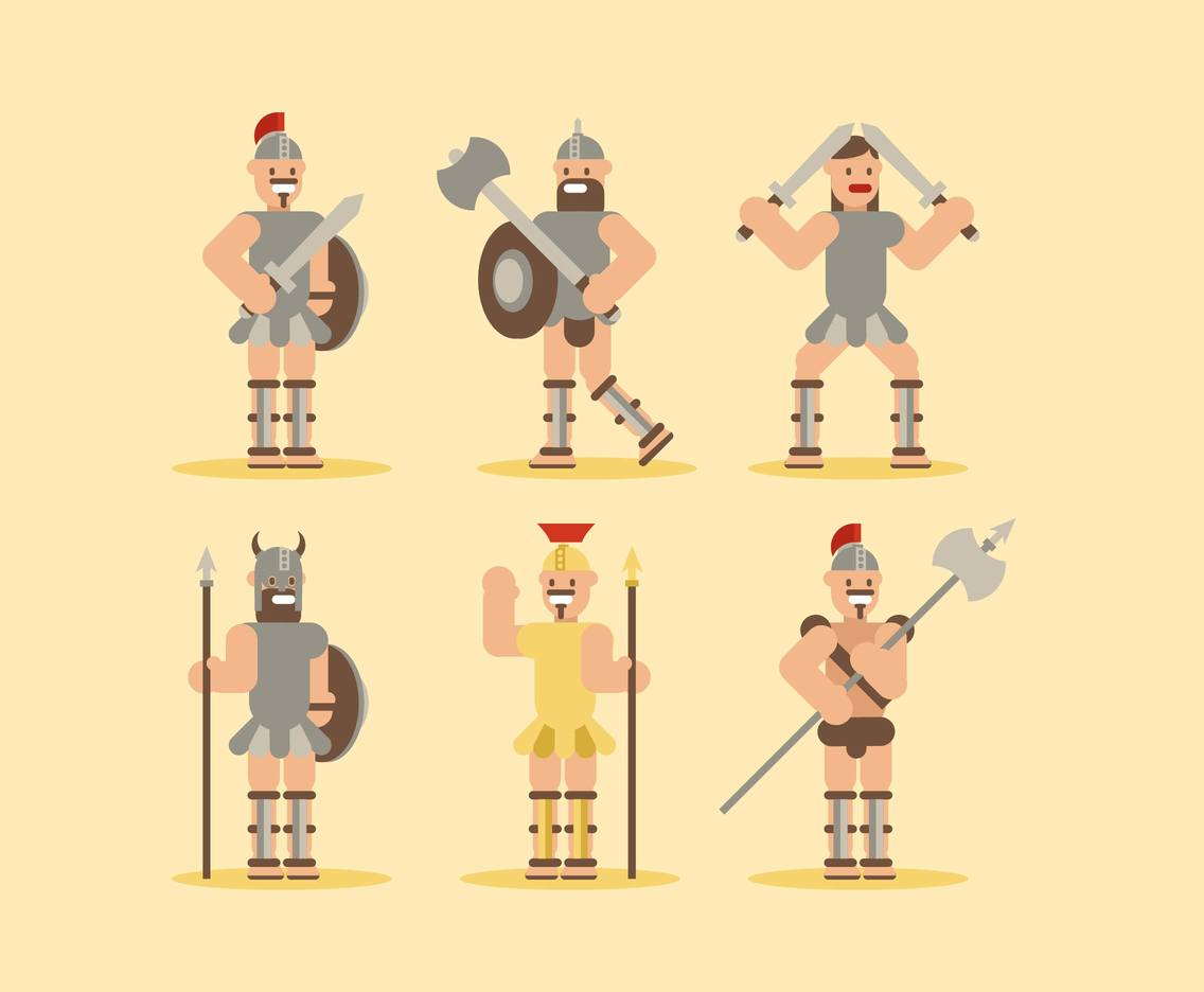 Gladiator Flat Illustrations Vector