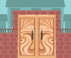 Woodcarving Door Vector