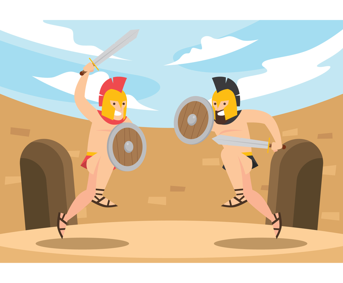 Two Gladiator Fighting