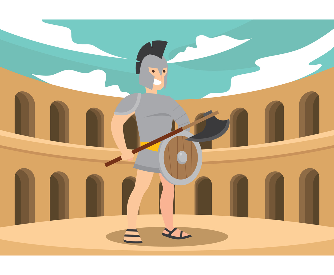Gladiator Standing In Arena