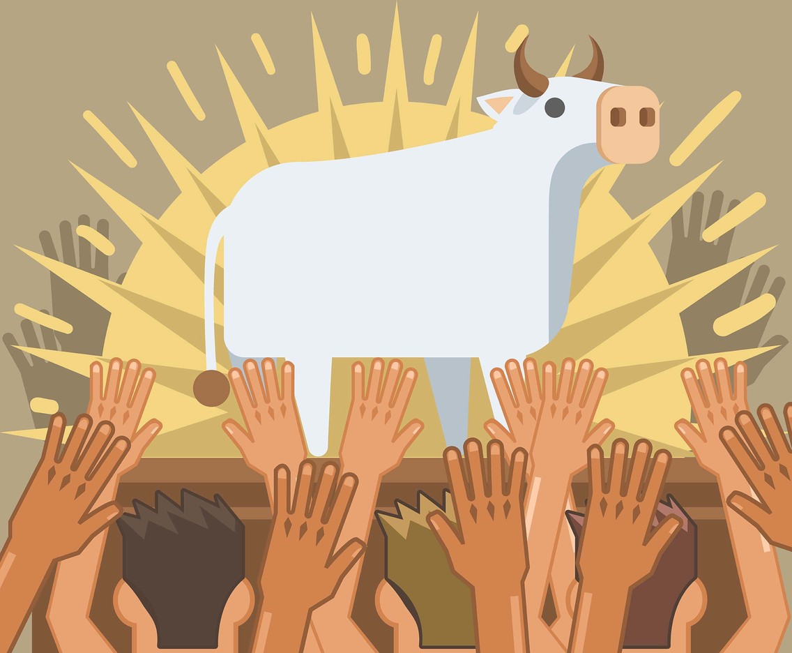 Cow Worship Vector