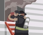 Rescue from Burning Building Vector