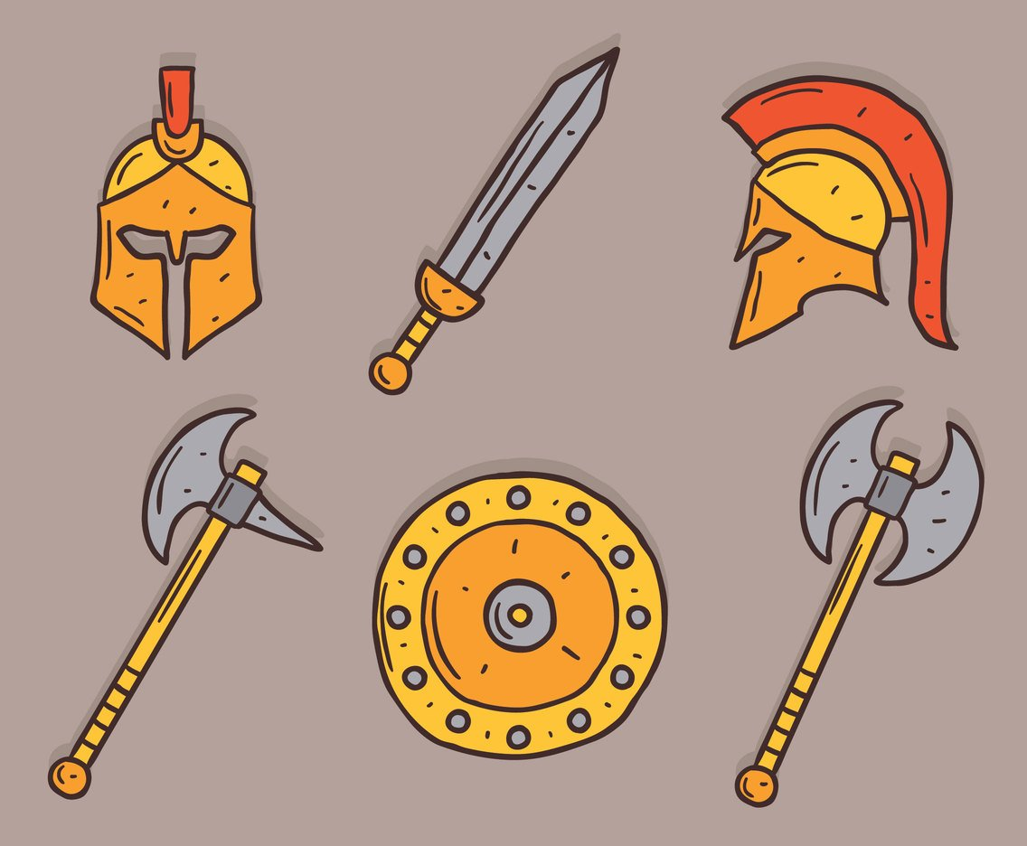 Hand Drawn Gladiator Element Vector