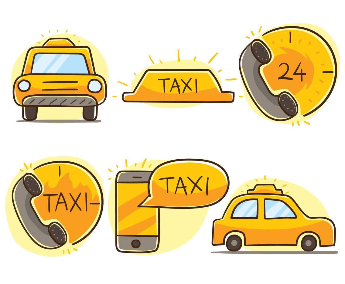 Hand Drawn Taxi Element Vector