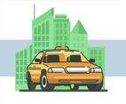 Taxi Cab Vector in White Background