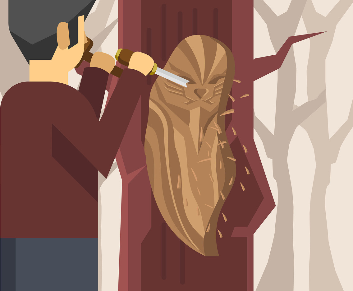 Woodcarving on Tree Vector