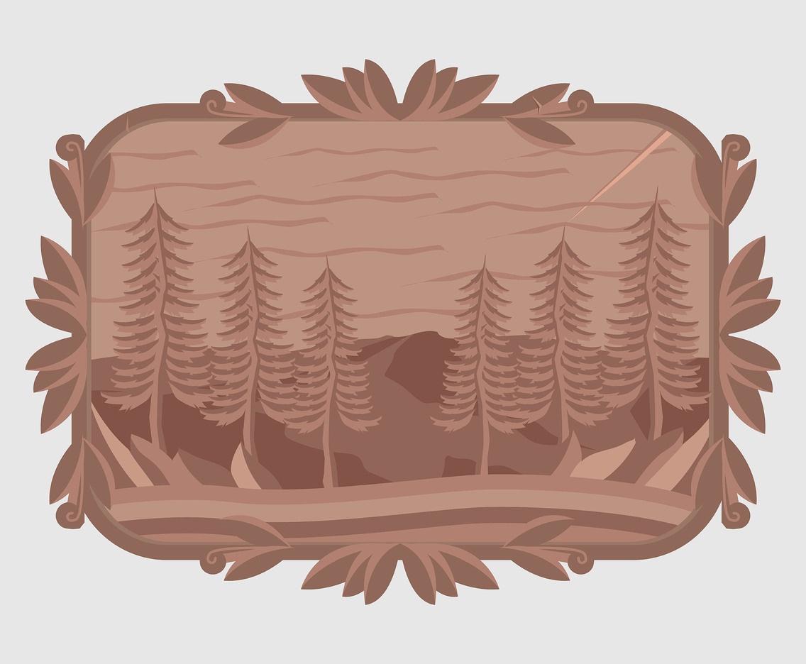Woodcarving Wall Art on Tree Vector