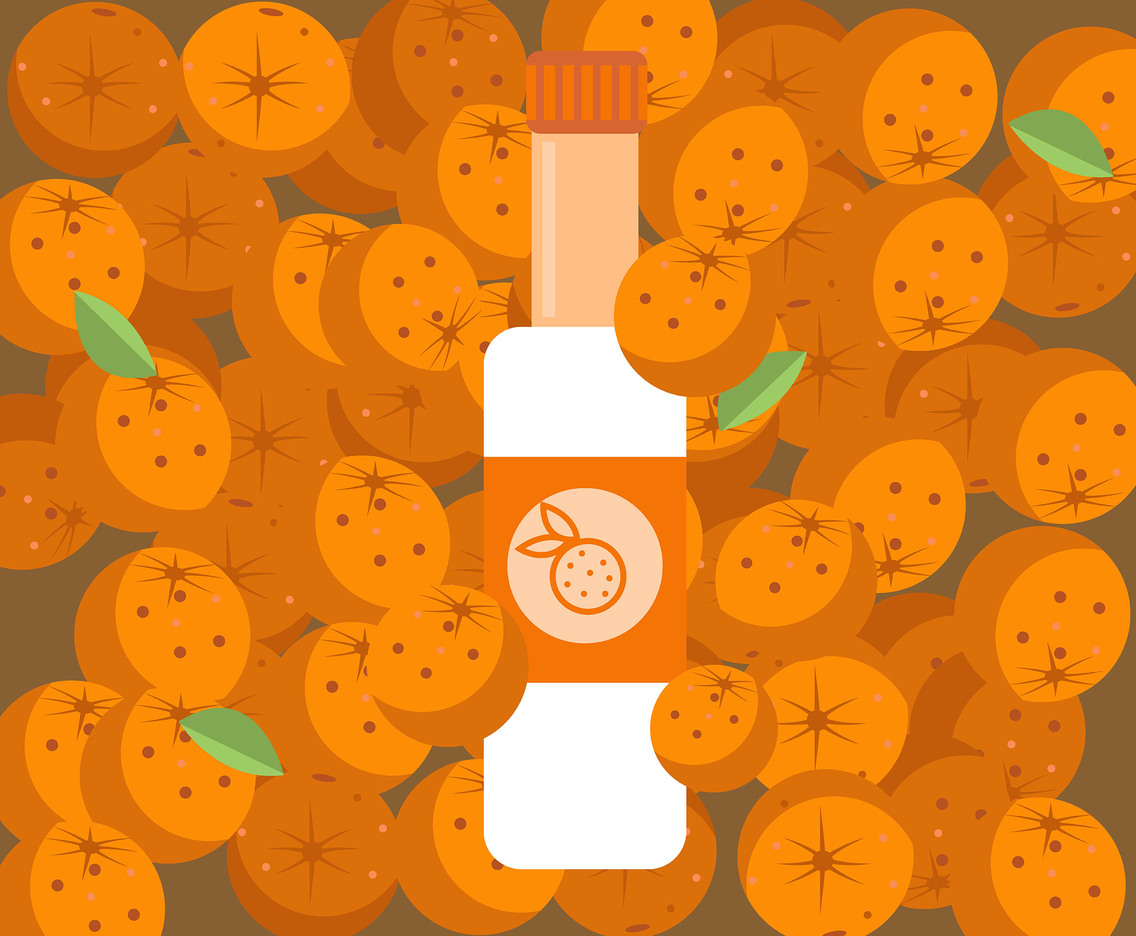 Bottled Tangerine Juice Vector