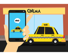 Man Order Taxi At Cinema