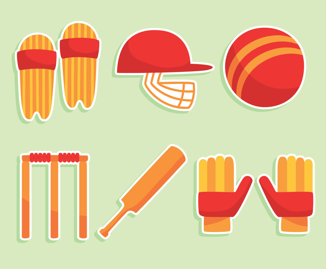 Flat Cricket Element Vector