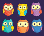 Cute Owls Collection Vector