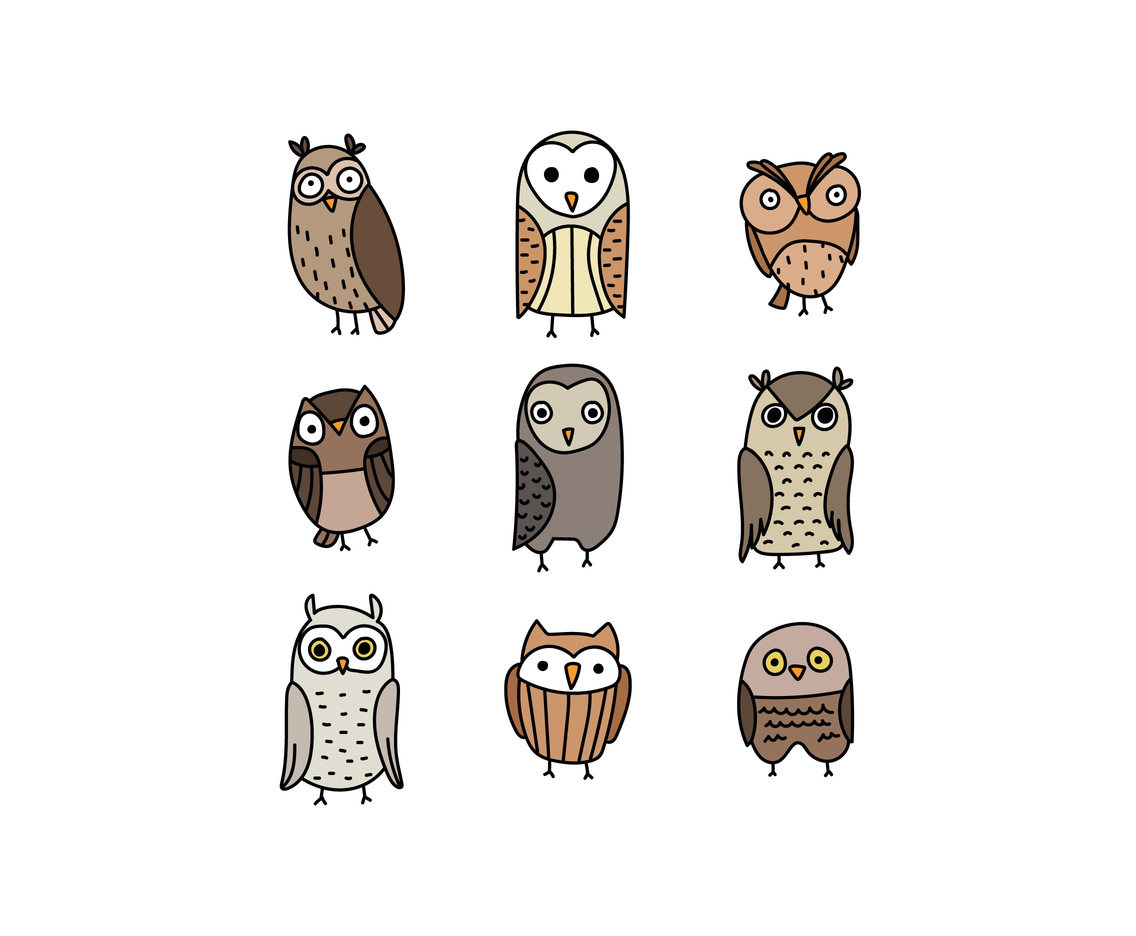 Set Of Doodled Owls