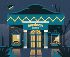 Mexican Cantina at Night Vector