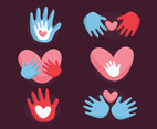 Hand And Heart Vector