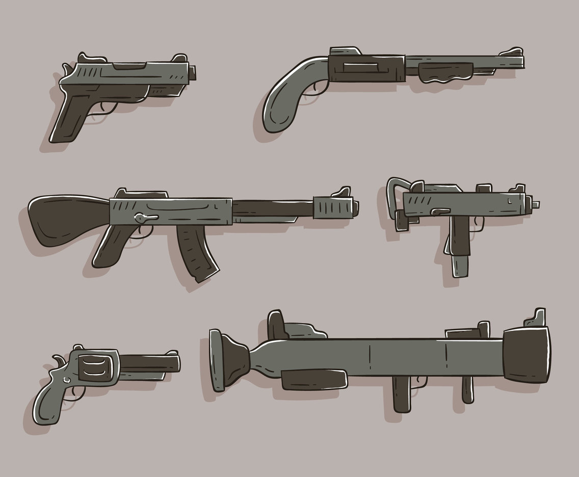 Hand Drawn Weapon Set Vector