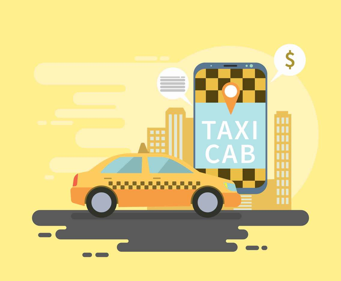 Taxi Cab Online Mobile illustration
