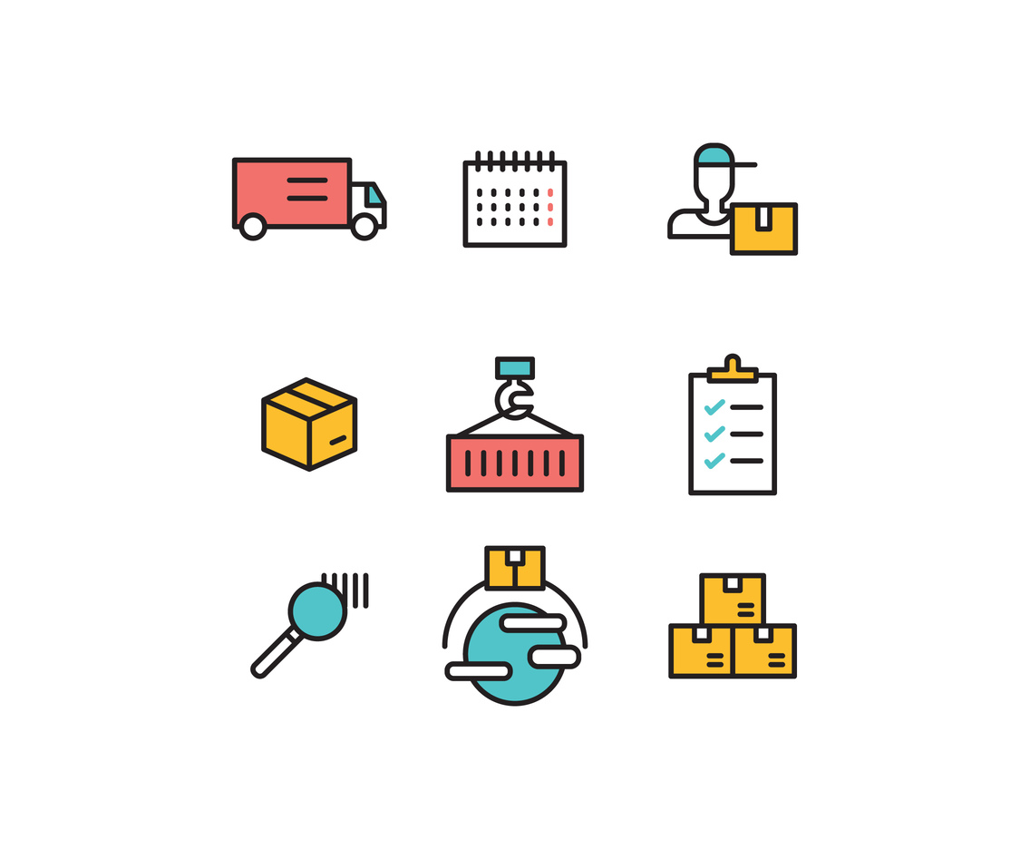 Set Of Outlined Logistics Icons