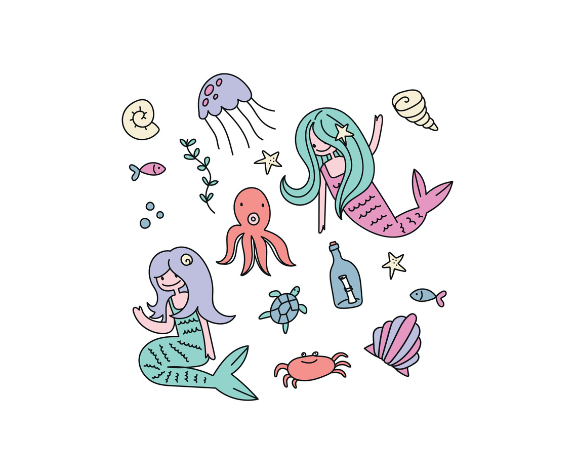 Pastel Color Doodled Mermaids