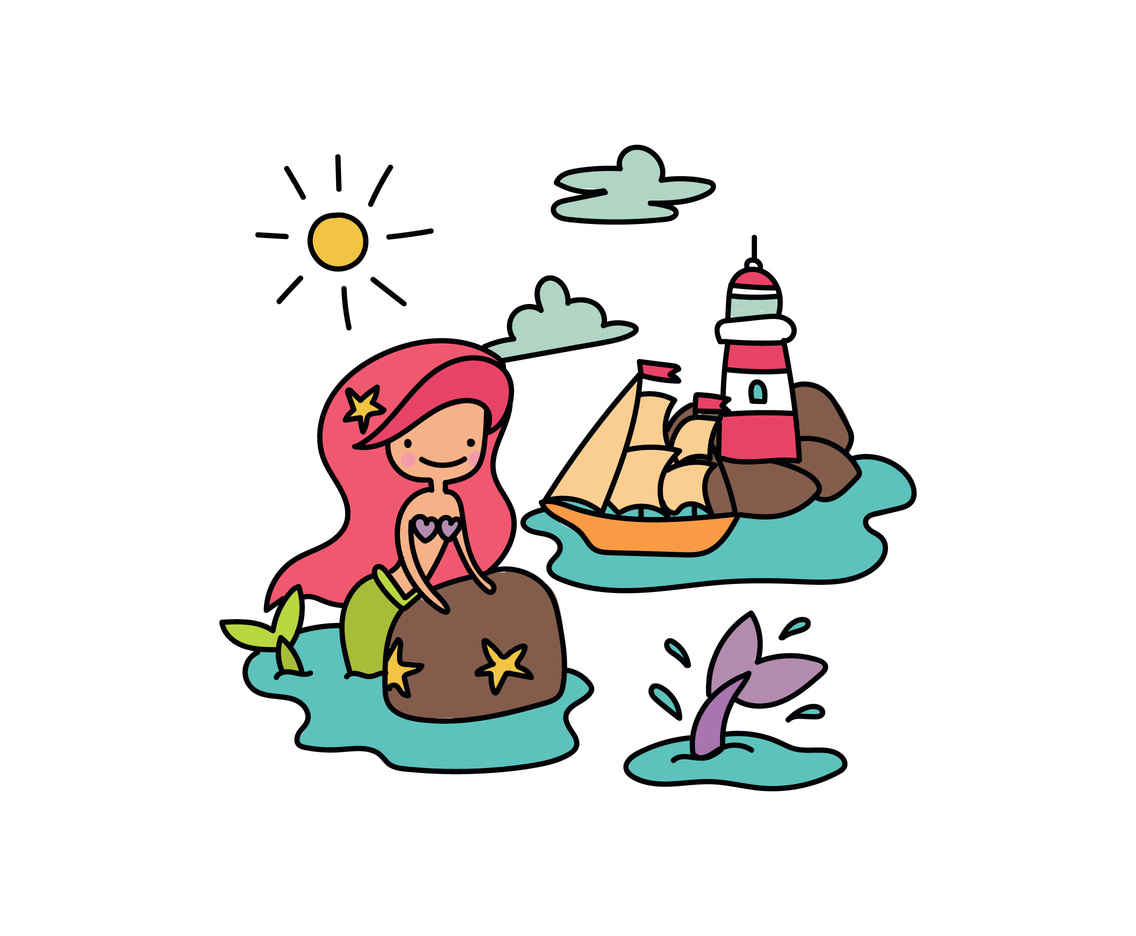 Mermaid In the Ocean With a Boat