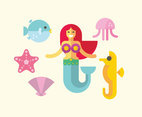 Flat Mermaid Illustration Vector