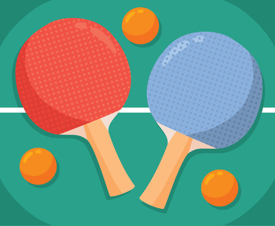 Ping Pong Table And Ball Vector
