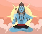 Shiva God Sun Background Vector