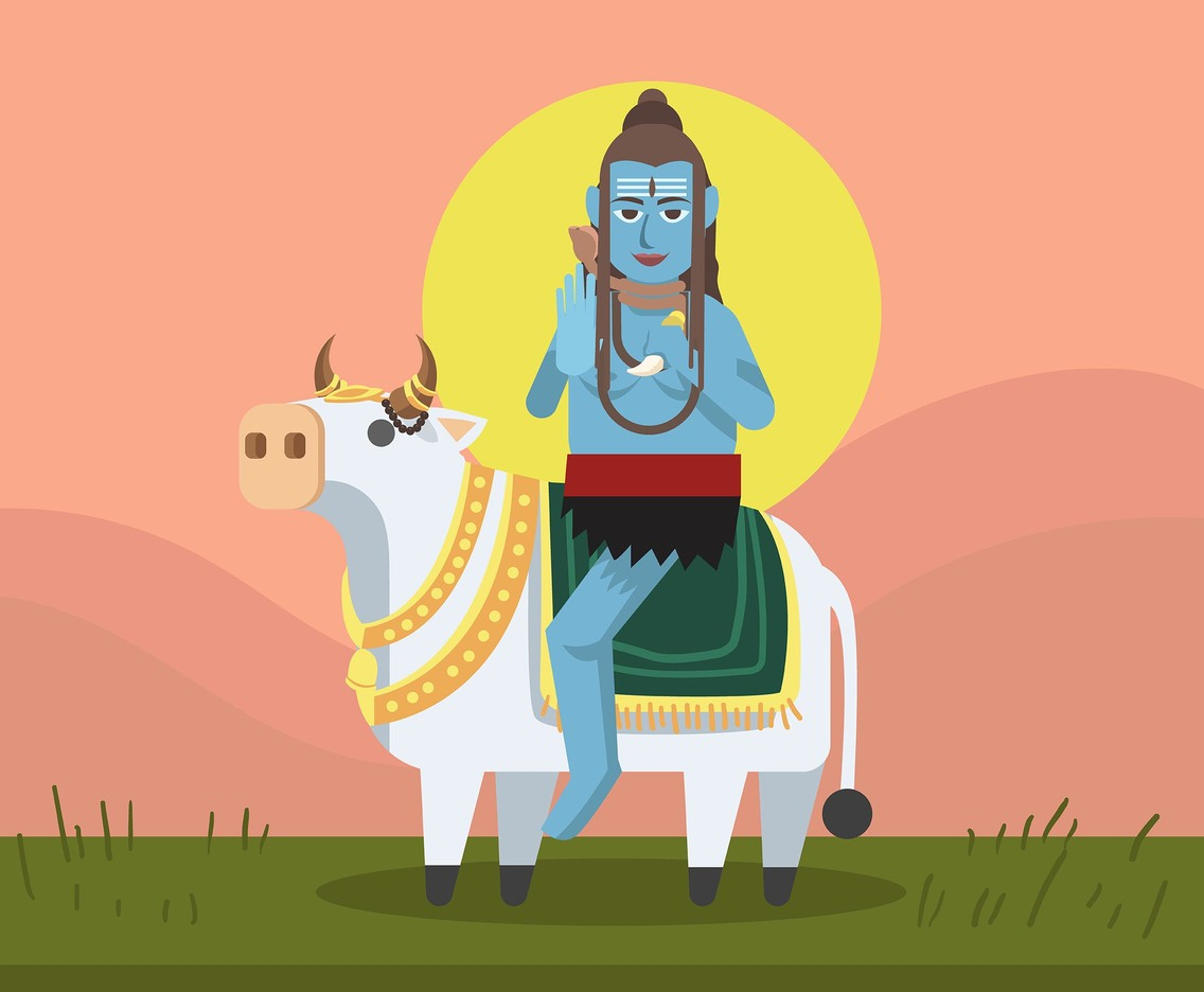 Shiva God On Nandi Vector