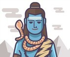 Shiva God Wearing Snake Vector