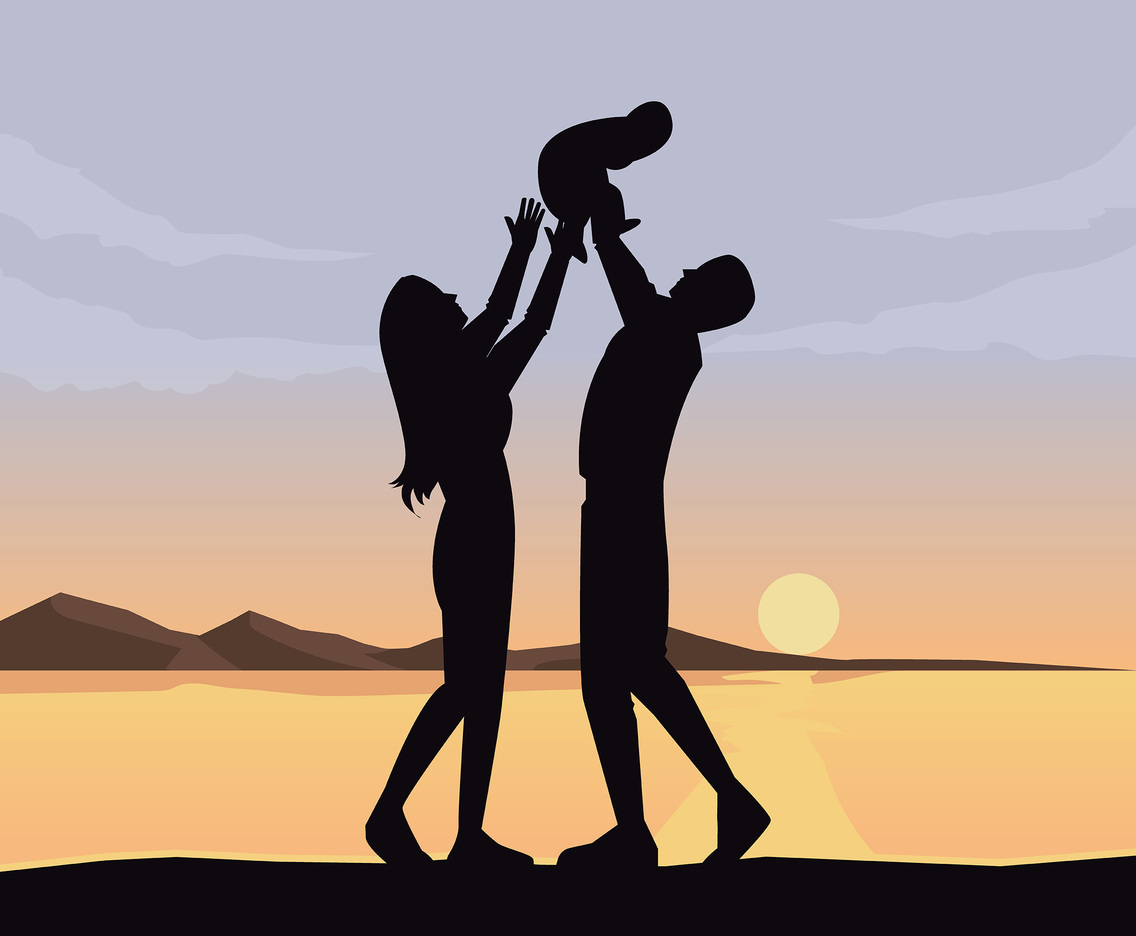Family With Sunset Background Vector
