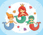 Hand Drawn Mermaid Vector