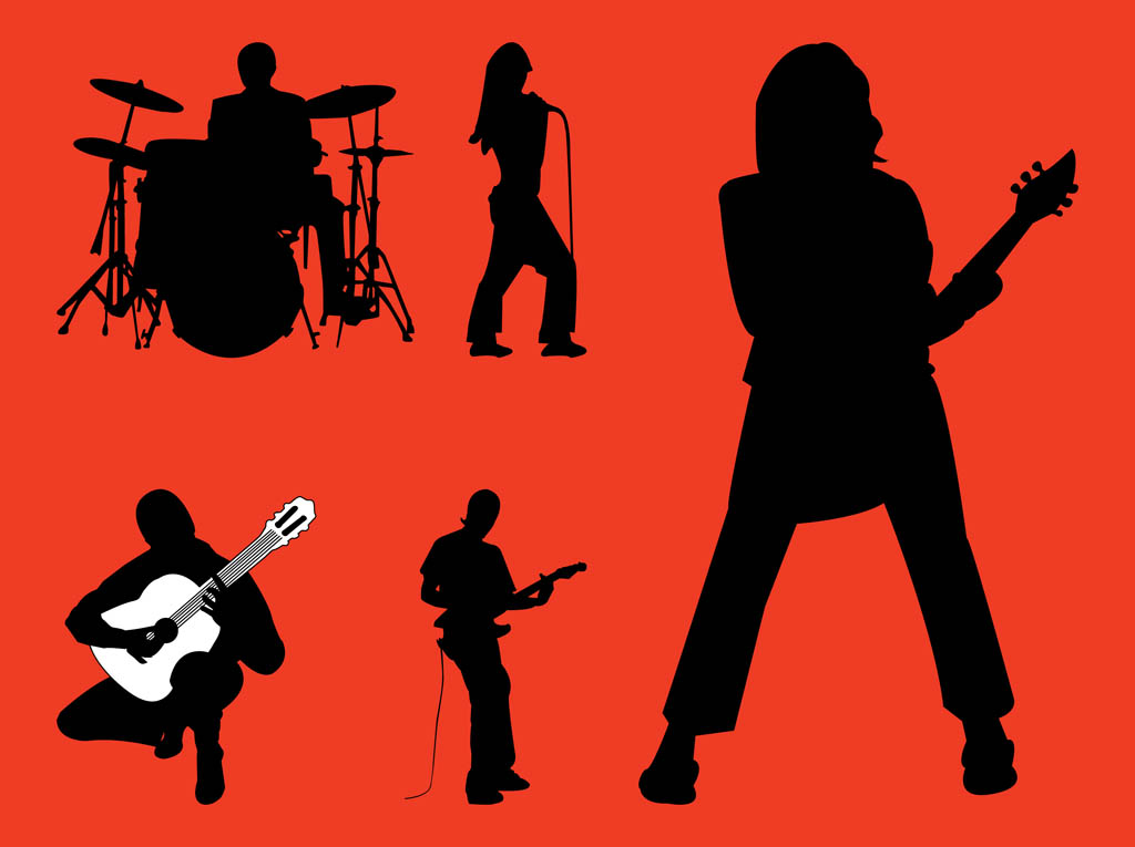 Rock Guitarist Silhouette Rock Band Silhouettes Graphics Rock Band Silhouette