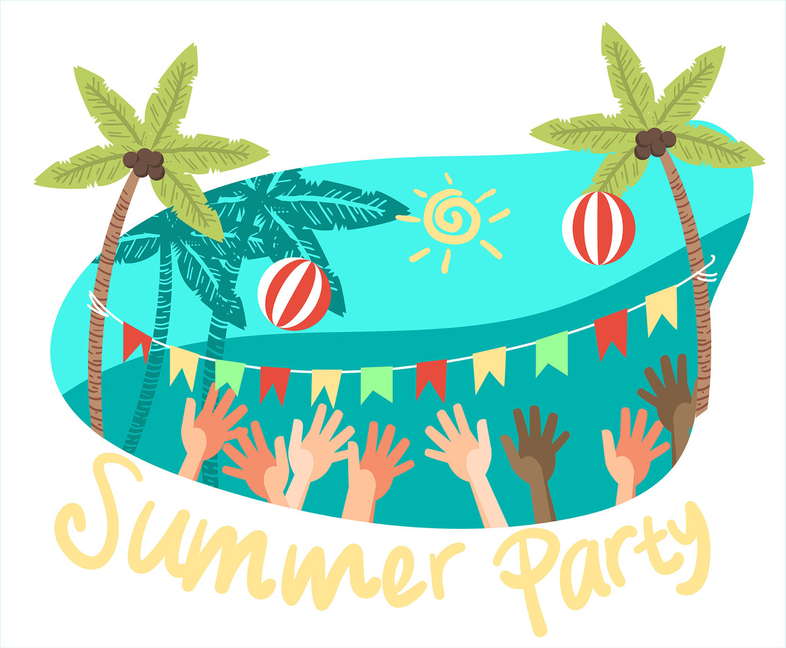 Summer Party Volleyball Vector