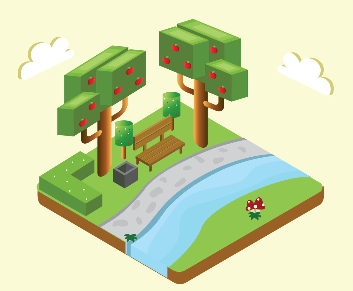 Isometric Apple Tree Vector Design