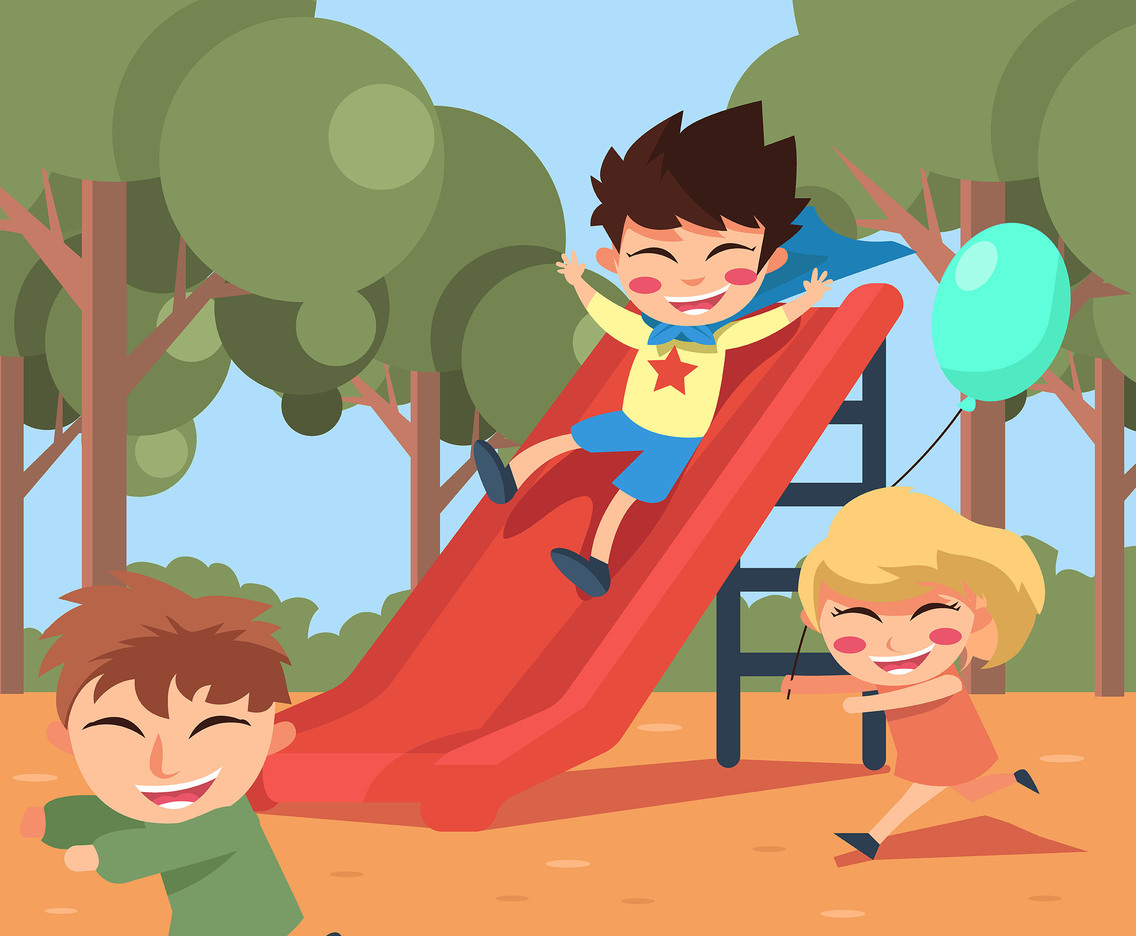 Happy Kids at Playground Vector