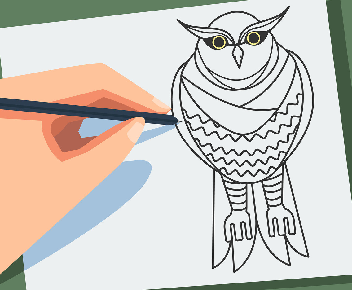 Sketch of Owls Vector