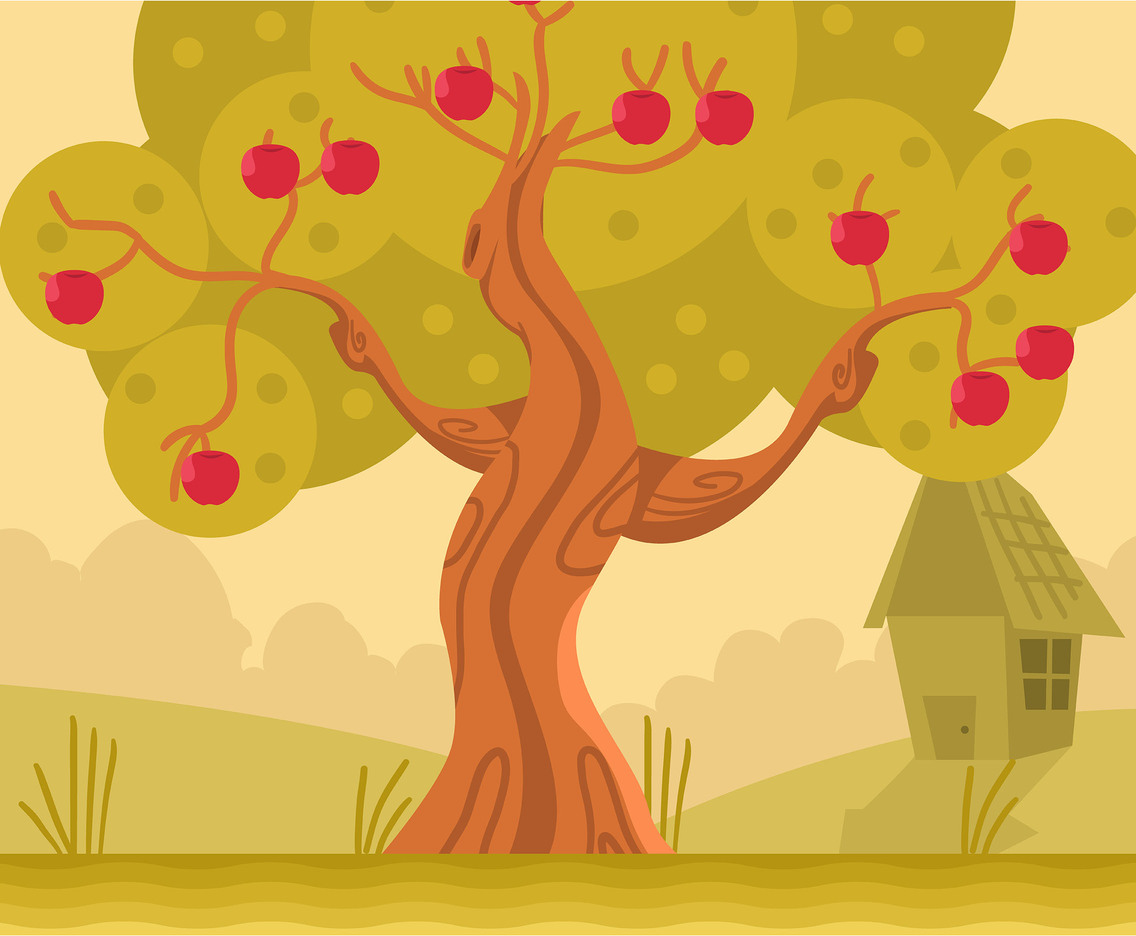 Apple Tree in Front Yard Vector