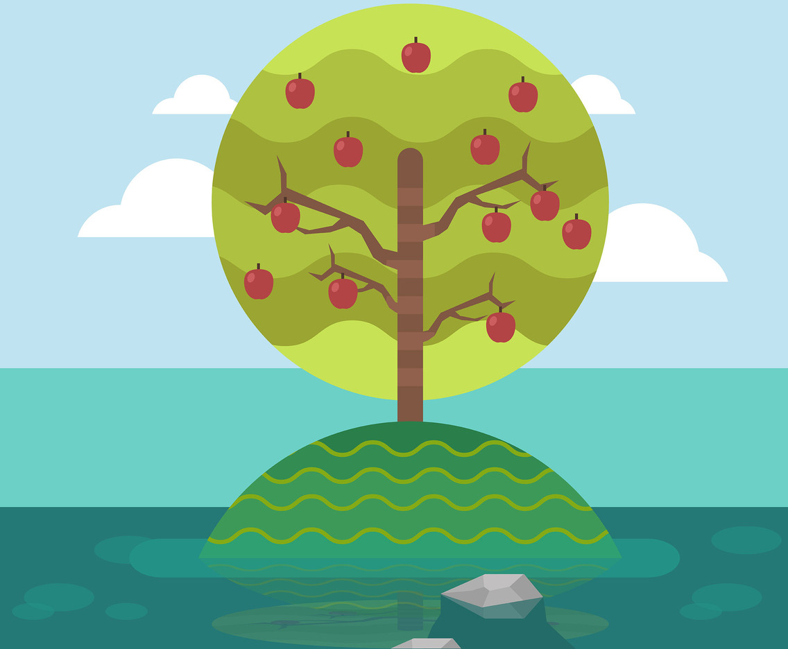 Apple Tree on Island Vector