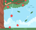 Apple Tree and Wind Vector