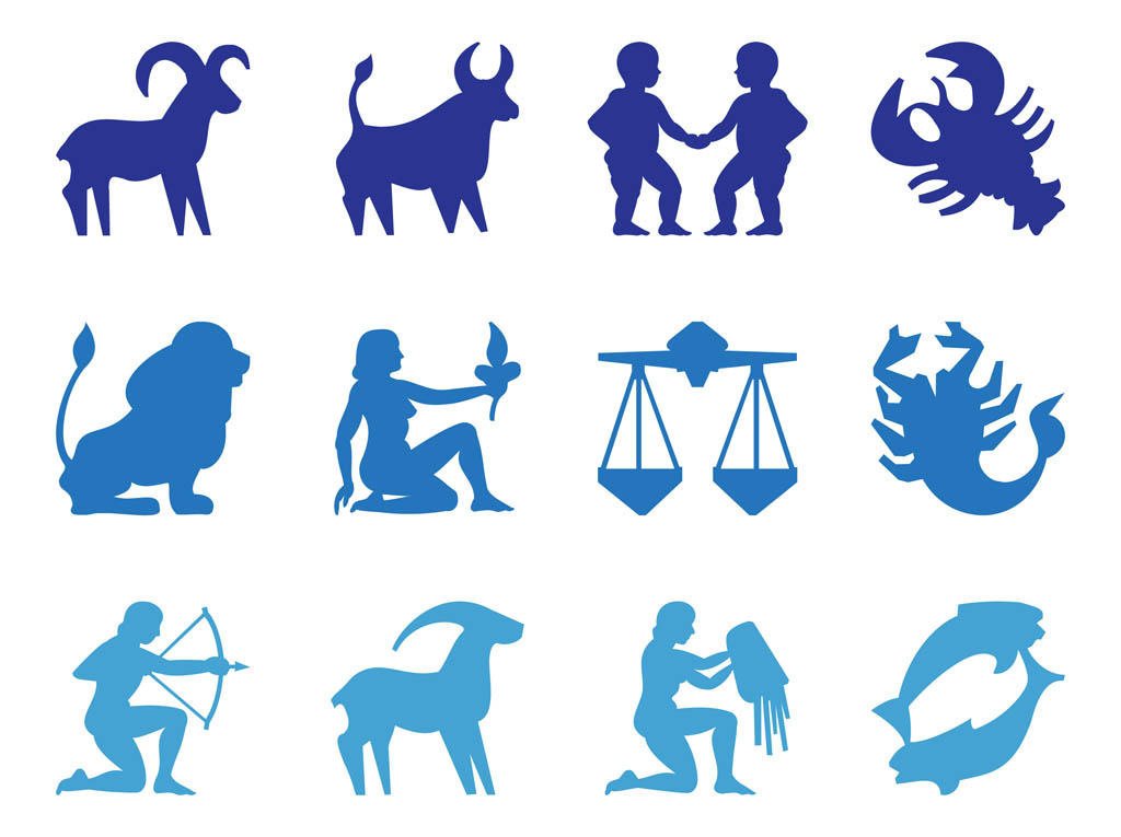 zodiac signs silhouettes astrology vector graphics of all the signs of ...