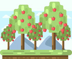 Red Apple Tree Garden Vector