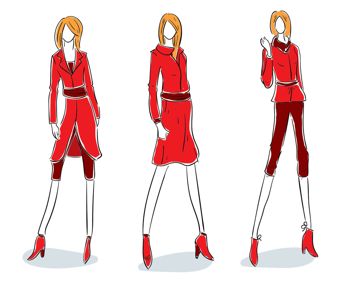 Red Fashion Model Vector