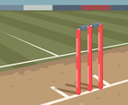 Red Cricket Stumps Vector