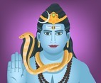 Shiva God in Purple Background Vector
