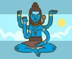 Shiva God in Sky Background Vector